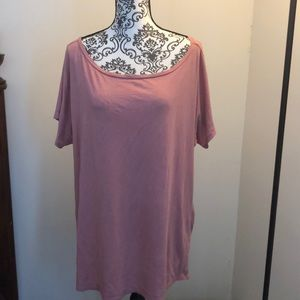 Euc 2x just fab wide neck rose colored tee
